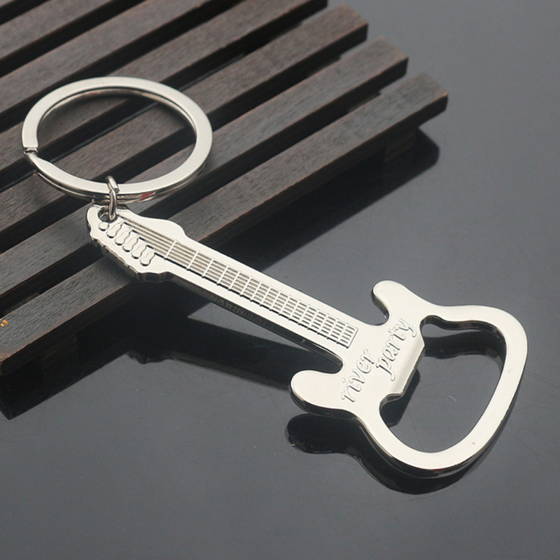 Beer Opener New Design Guitar Beer Bottle Can Opener Alloy Hangings Ring Keychain Tools Household Gifts  Keychain Bottle Opener