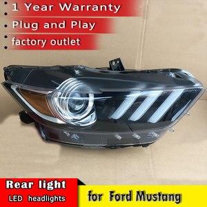 Image 1 - Auto Styling 2015 2018 für Ford Mustang Scheinwerfer LED OEM version Scheinwerfer DRL LED Objektiv Doppel Strahl auto Zubehör
