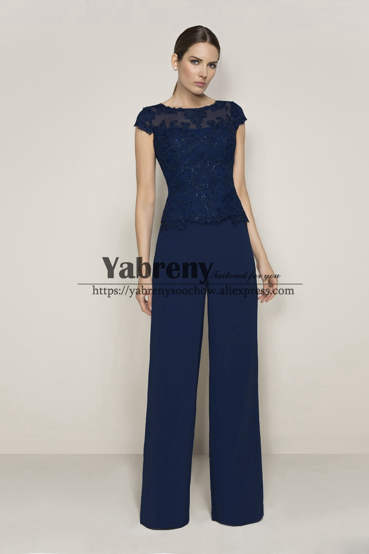 Dark Navy Mother Of The Bride Pantsuits Women Trousers Set
