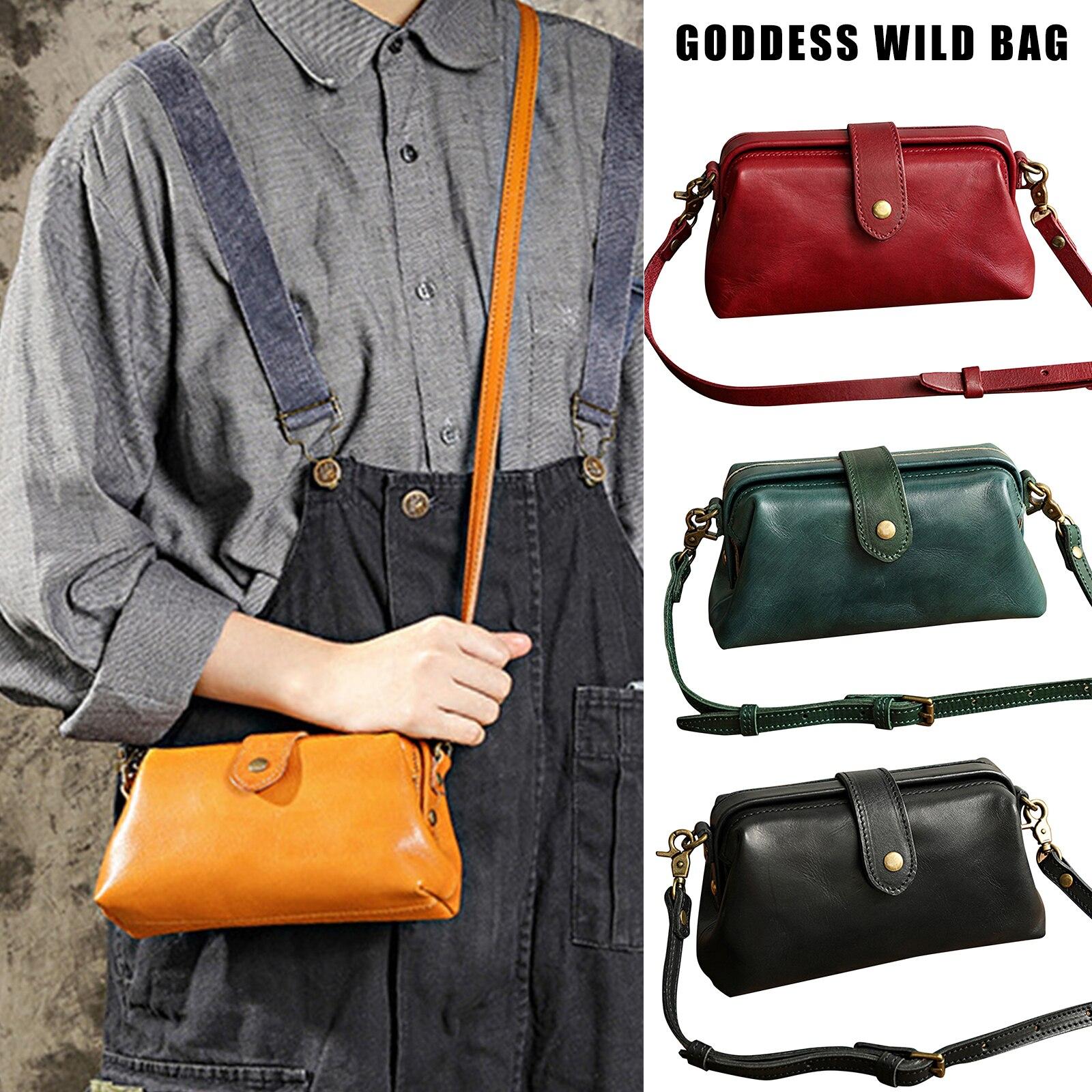 Premium Leather Retro Handmade Bag Unique Opening Small Women Crossboy Bag FS99