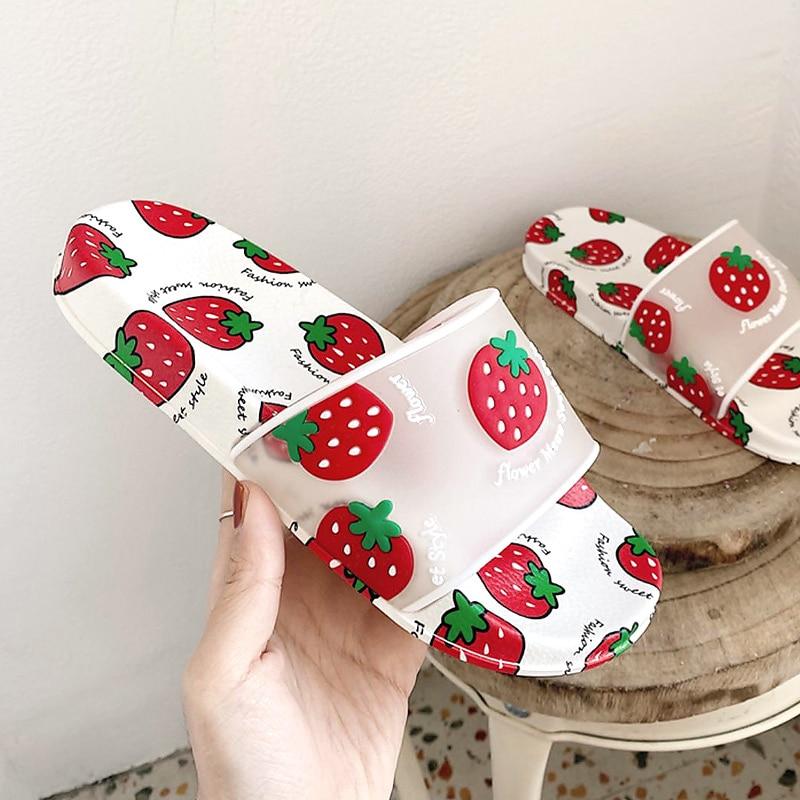 Summer Slippers Women Slides Women Shoes Cartoon Fruit Strawberry Pineapple Peach Girl Flip Flops Slide Sandals Beach Slides