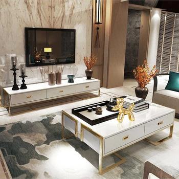 Stolik do herbaty Post-nowoczesne oświetlenie luksusowe szkło hartowane stolik do herbaty szafka TV mały stolik do herbaty szafka TV tanie i dobre opinie Mavisun CN (pochodzenie) Nowoczesna i minimalistyczna 1 (włącznie)-5 (włącznie) 130x70x42cm 200x40x42cm Drewna Panel