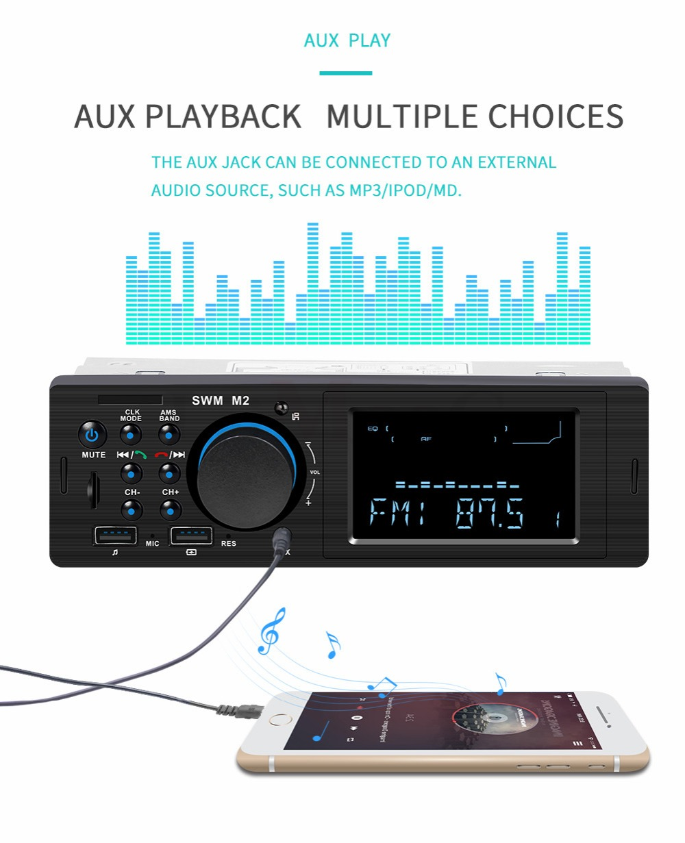 Bluetooth FM AUX Mp3 Bluetooth Car Radio Stereo Receiver 1 Din Auto Cars Audio Modulator Central Multimedia Cassette player (26)