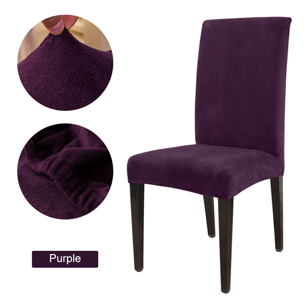 1 to 6 Pcs Removable Chair Cover Made with Stretchable Thick Plush Material for Banquet Chair 25