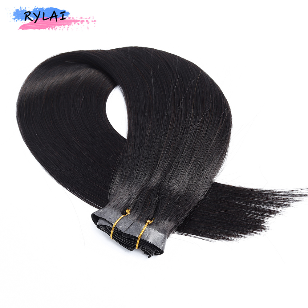 16 18 20 24'' PU Weft Clip In Extension Long Straight Hairpieces 6Pcs/Set Off Black Color Biological Protein Fiber Polyurethane