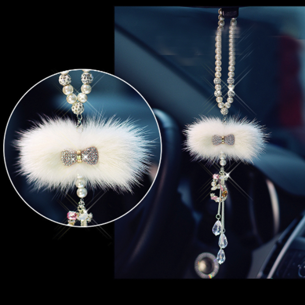 Car Pendant Ornaments Diamond-studded Cute Bow-knot Crystal Auto Interior Decor Hanging on Rearview Mirror Car Accessories