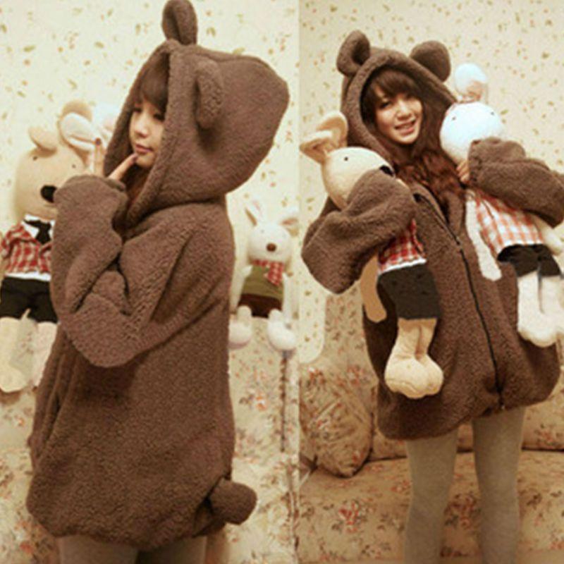 Lugentolo Women's Hoodie Fashion Bear Bunny Ears Tail Cute Cartoon Plush Jacket Hoodie Cute Smart
