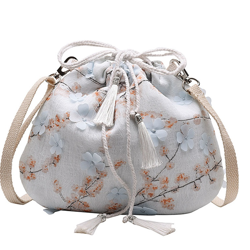 Fashion Ladies Antique Lace Drawstring Bucket Shoulder Bag Messenger Bag Casual Chinese Style Bags