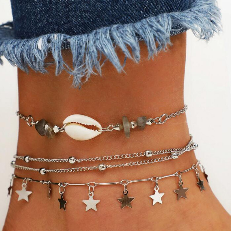 Bohemian Shell Anklet Layering Pendant Anklet Beaded Foot Jewelry Summer Beach Anklets On Foot Bracelet For Women Leg Chain