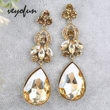 Veyofun классические висячие серьги с кристаллами свадебные