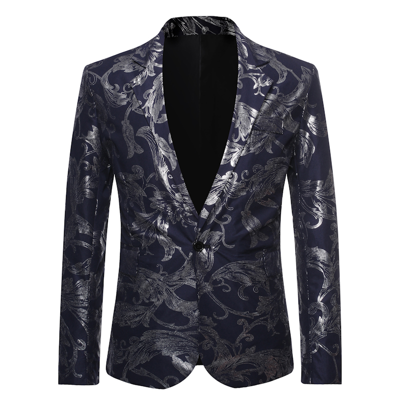 Men's One Button Gold Foil Printing Suit Wedding Suit Casual Blazer Men Golden Floral Printed Formal Suit Men