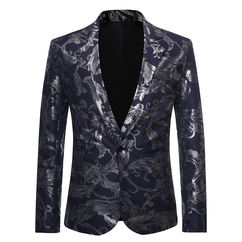 Men's One Button Gold Foil Printing Suit Wedding Suit Casual Blazer Men Golden Floral Printed Formal Suit Men