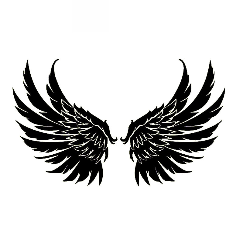 Angel Wings Guardian Decals High Quality Car Decoration Personality Pvc Car Window Waterproof Sticker Black/white, 20cm*12cm