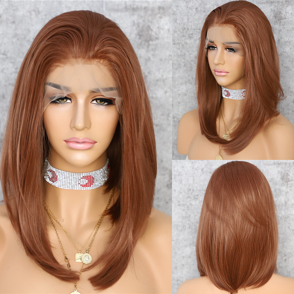 Lvcheryl 13x6 Synthetic Lace Front Wigs Short Bob Brown 27# Color Futura Free Parting Hair Wigs For Women