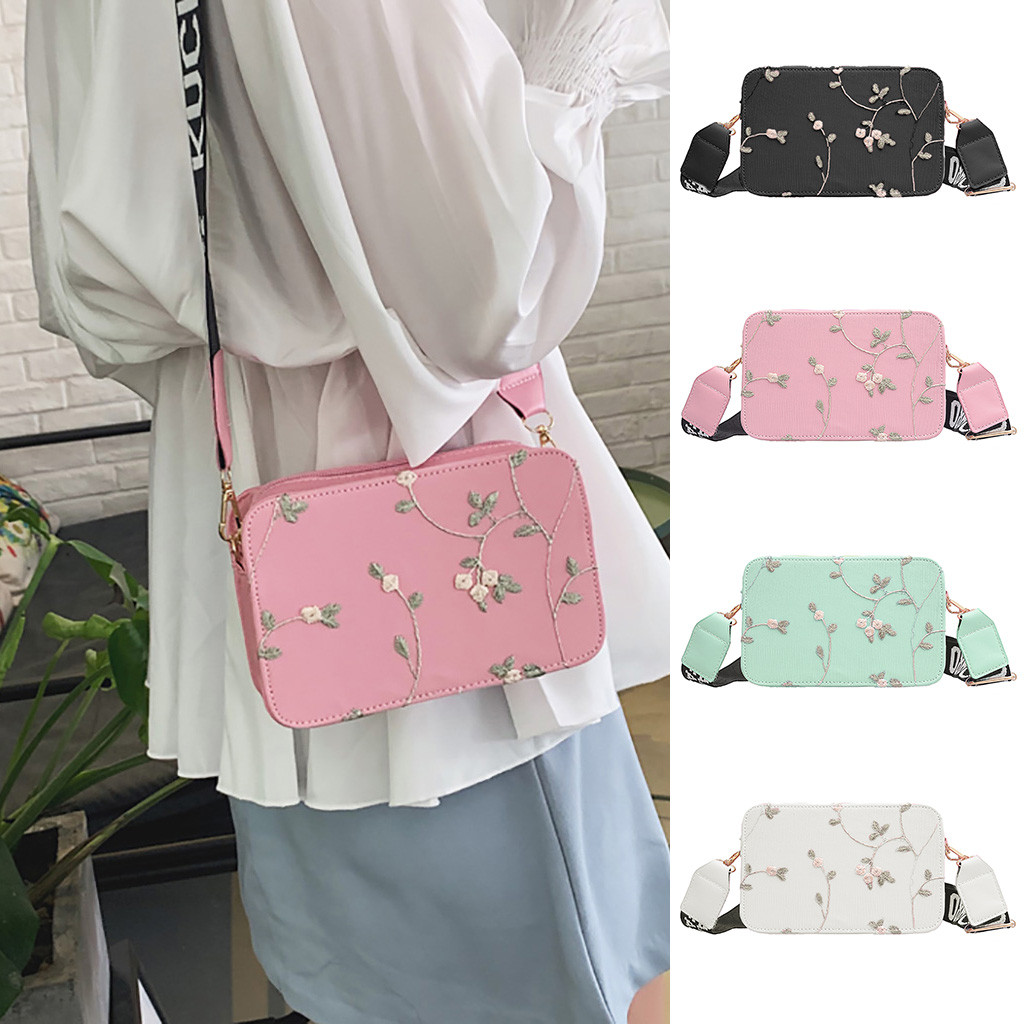 Women's Fashion Lace Retro Shoulder Bag Floral Zipper Embroidery Beach Bag Messenger Crossbody Bags Bolsa Feminina#30