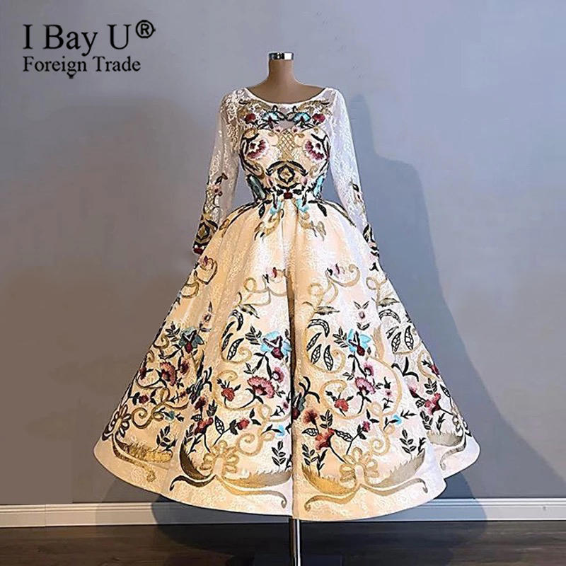 Real Photo Embroidery Lace Sexy Formal Evening Dress Illusion O Neck Puffy Skirt 2020 Long Sleeve Fashion Evening Gown