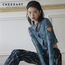 Crop Blouse Mesh Long-Sleeve CHEERART Women Top-Designer See-Through Fashion Fall