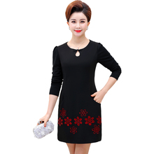 Chinese Style Women Straight Dresses Long Sleeve Crochet Flower Oriental Button O-neck Red Black Patchwork Fake 2PCS Dress Woman