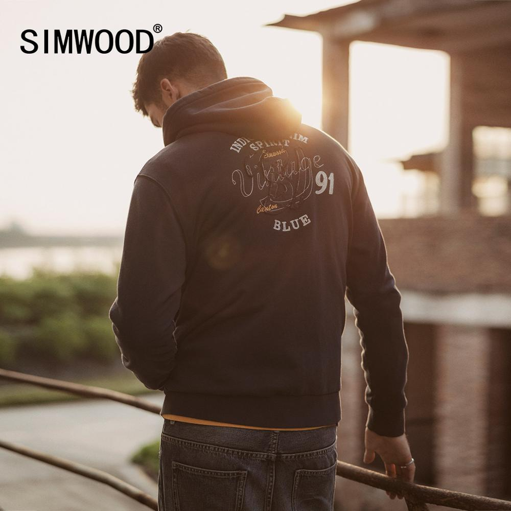 SIMWOOD 2019 Autumn New Letter Embroidered Printed Zip-Up Hoodies Men Joggers Tracksuit Indigo Hooded Plus Size Sweatshirt 90464