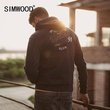 Simwood 2020 primavera nova letra bordado impresso zip up hoodies homens joggers agasalho com capuz indigo plus size moletom 90464