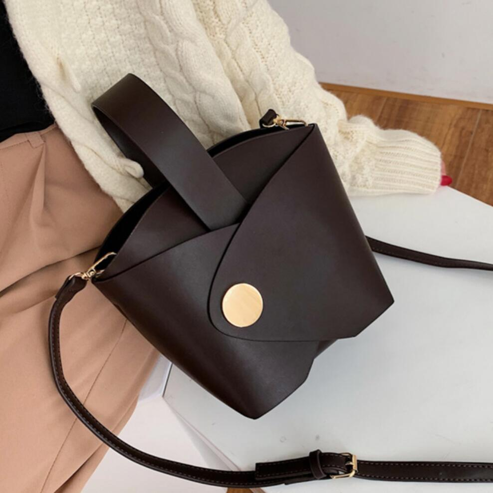 Vintage Fashion Female Tote Bucket Bag 2019 New High Quality PU Leather Women's Designer Handbag Travel Shoulder Messenger Bag
