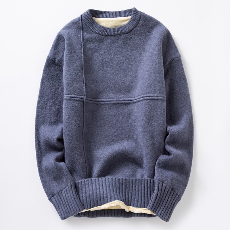 Korean Style Plus Fleece Sweaters Men Winter High Street Solid Slim Crew Neck Sweaters Men Fashion Vintage Warm Sweaters Men