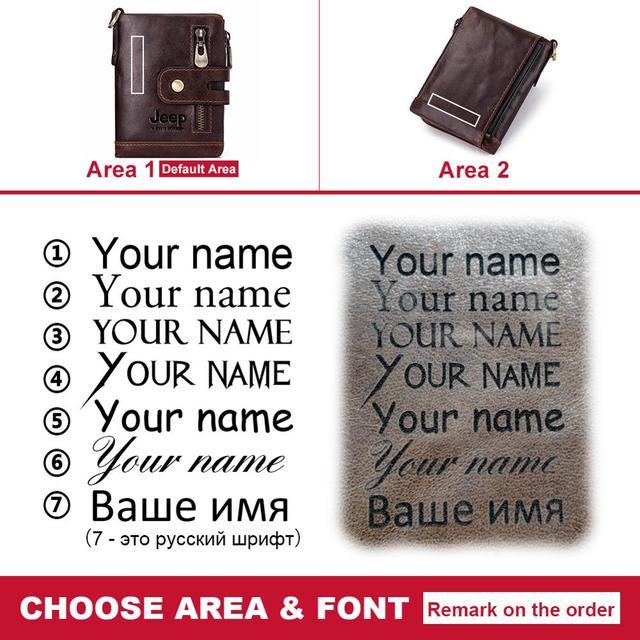 Free engraved genuine leather men's wallet