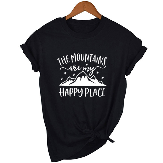 The Mountains Camping T-Shirt Happy Place Graphic Tumblr Tee Funny Casual Mountains Clothing Grunge Tops T Shirt Camisetas