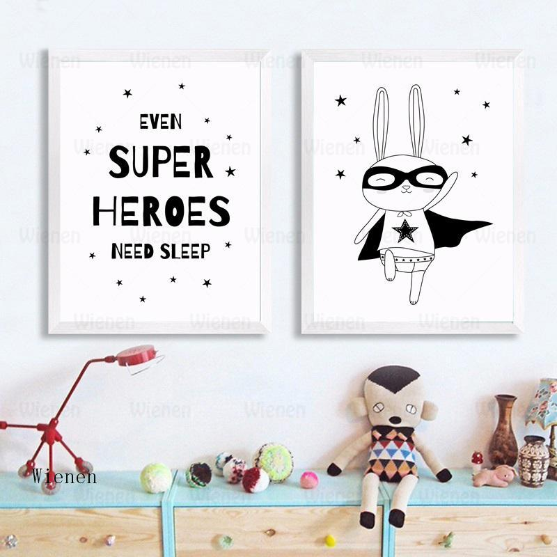 Kids Bedroom Decoration Picture Cartoon Rabbit Superheroes Canvas Painting Nordic Posters and Prints Wall Art for Baby Nursery