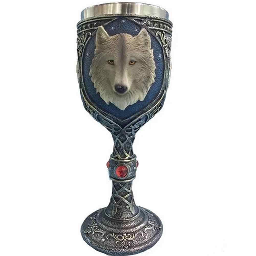 1pc Stainless Steel Beer Cup 3D Wolf Goblet Wine Cup Coffee Mug Drinkware Mug Gothic Dinner Party Decor