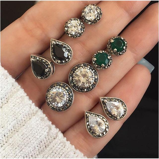 5 Pair /Set Fashion Women Bohemian Earrings Ear Stud Crystal Alloy simple Ear Stud round Droplets shaped Retro Ear accessories