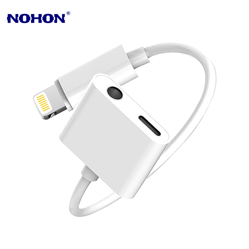 2 in 1 Audio Adapter Lightning to 3.5mm Earphone Jack Connector for <font><b>iPhone</b></font> X XS 11 Pro Max XR <font><b>7</b></font> 8 Plus Charging Cable Converter image