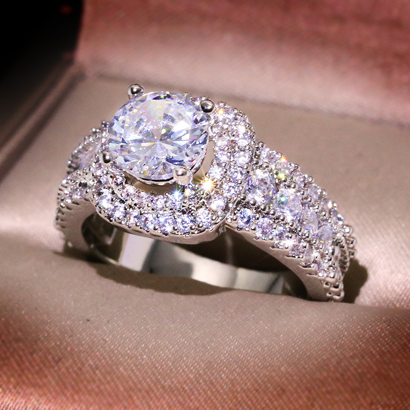 Big Bling Zircon Stone Silver Color Wedding Engagement Rings for Women Fashion Jewelry 2020 New SS925 4