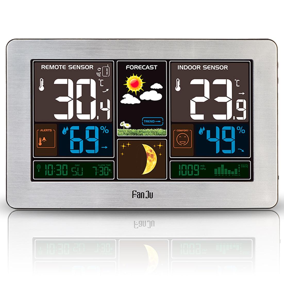 EU Plug FanJu FJ3378 цифровой будильник usb зарядка цветная Метеостанция для помещений и улицы температура и влажность