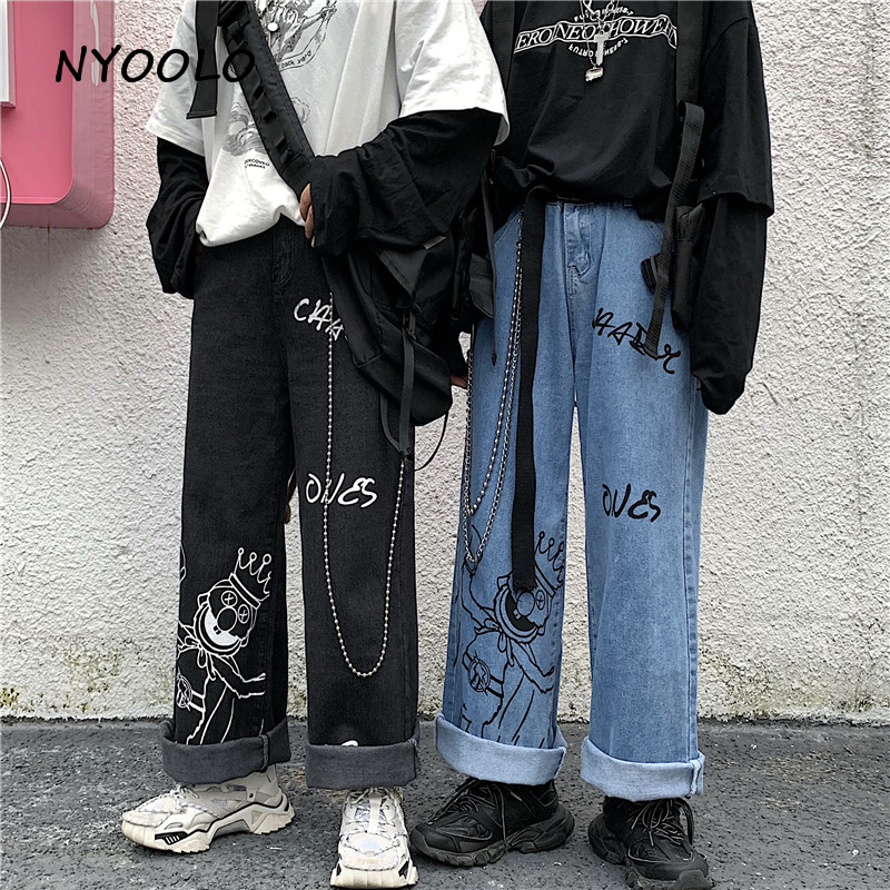 NYOOLO Vintage Cartoon Letters Print Washed High Waist Jeans Casual Streetwear Loose Full Length Wide Leg Denim Pants Women Men