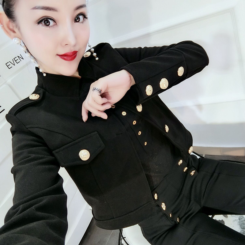 Plus Size 3XL!spring Autumn Fashion Black Short Jacket Women Stand Collar Single Breasted Top Coat