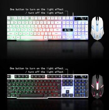 Regenboog Kleurrijke Led Mode Backlit Bedraad Toetsenbord Muis Set Gaming Toetsenbord Gamer Muis Statief Toetsenbord Home Office Pc Laptop