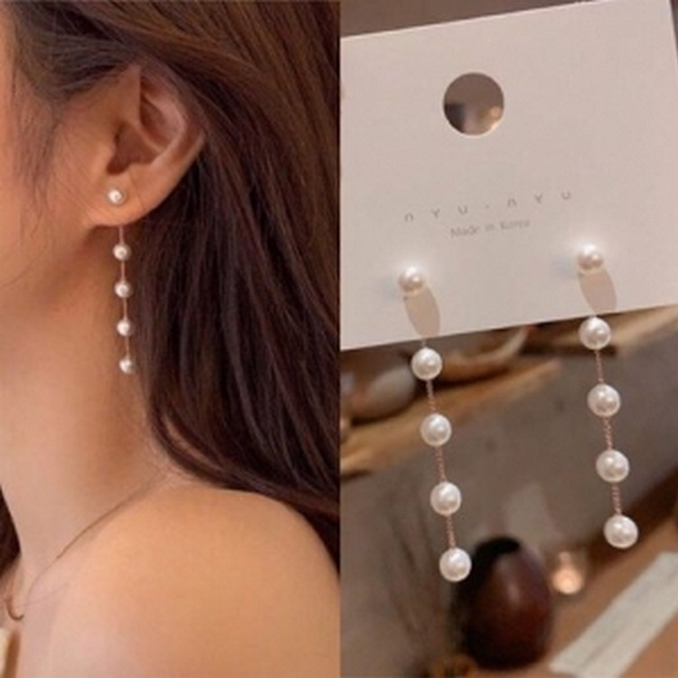 S925 Pin Earrings Fashion White Pearl Long Chain Earrings Simple Tassel Temperament Earrings for Women Party Wholesale