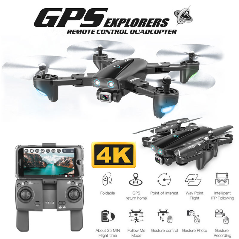 New 4K Camera Drone Double GPS Quadcopter FPV RC Drone With Live Video And Return Home Foldable RC Quadrocopter image