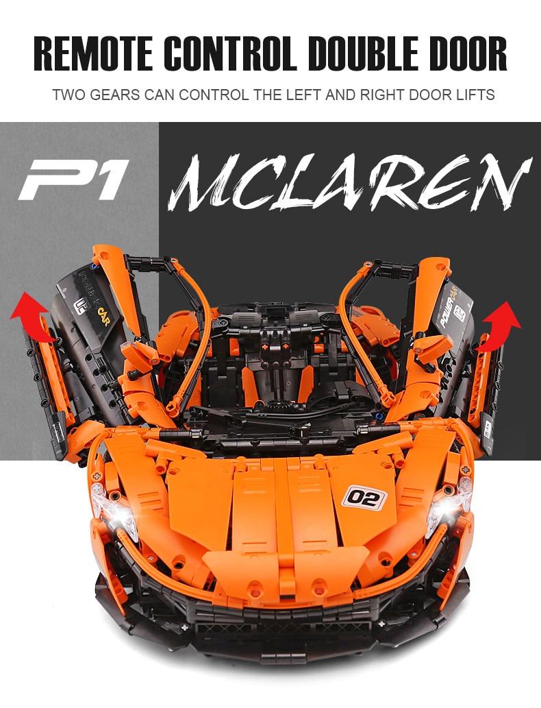 1 to 8 ratio 13090 Technic Series McLaren P1 Orange Racing Car Set APP RC Model Building Blocks Power Motor Function Toys 20087 32