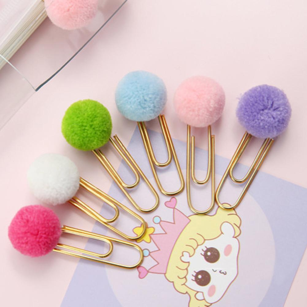 6Pcs Cute Hairball Paper Clip Binder Clamp Holder Bookmark Office Stationery