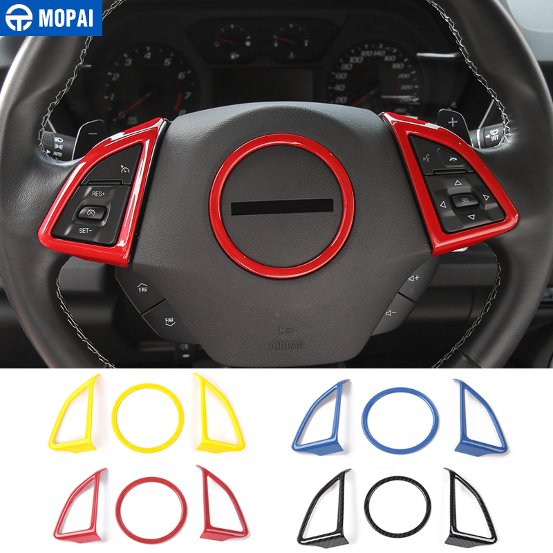 MOPAI ABS Car Interior Steering Wheel Decoration Cover Trim Stickers for Chevrolet Camaro 2017 Up Accessories Styling