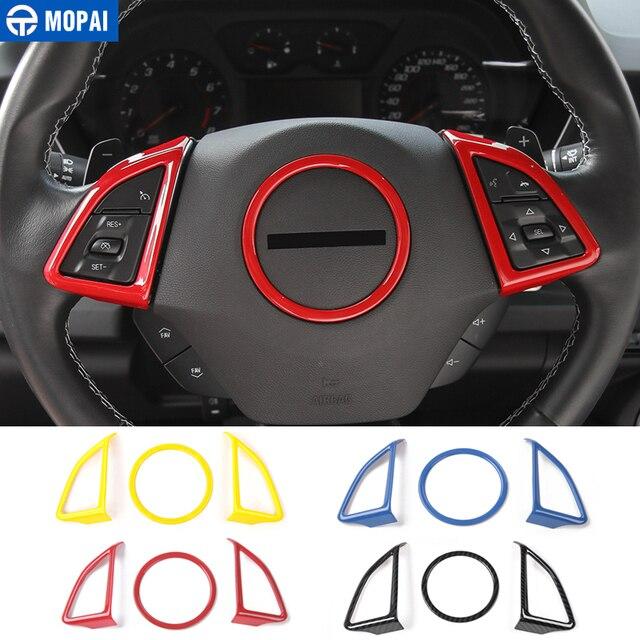 MOPAI ABS voiture intérieur volant décoration couverture garniture autocollants pour Chevrolet Camaro 2017 Up voiture accessoires style