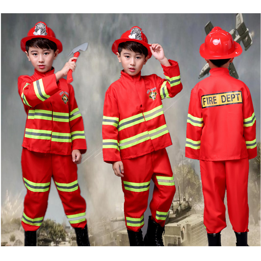 Boys Fireman Sam Cosplay Costumes Children Red Carnival Party Clothes with Toys Teenager Christmas Fancy Firefighter Uniform(China)