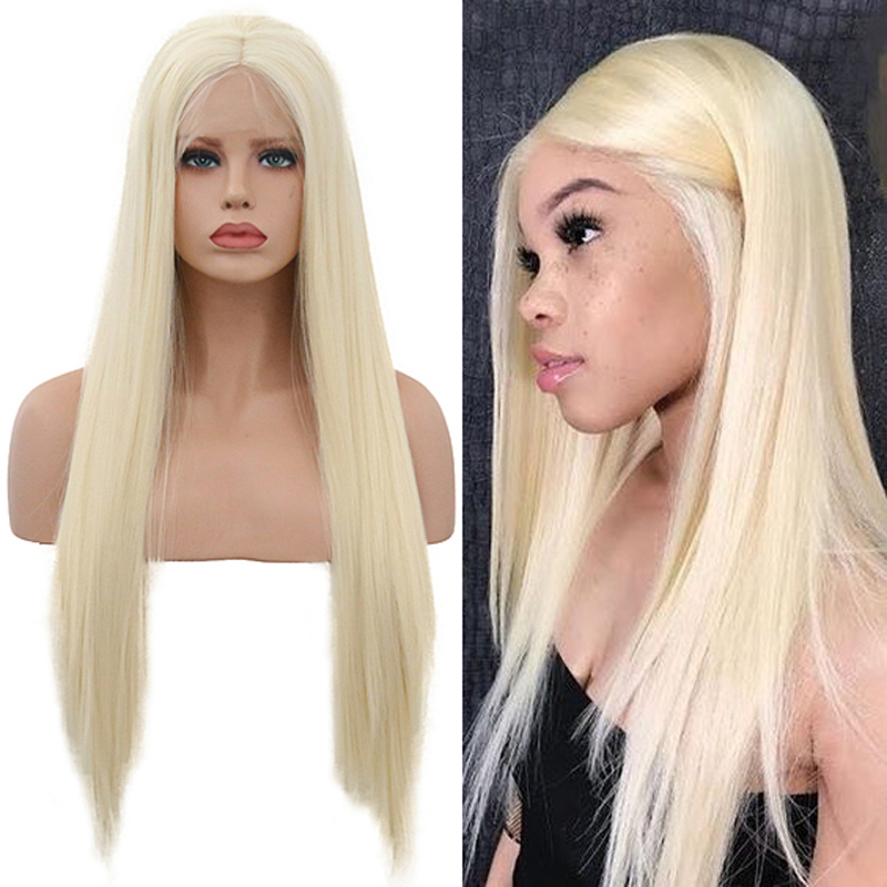 RONGDUOYI Long Heat Resistant Silky Straight Blonde Synthetic Lace Front Wig Glueless Front Lace Blonded Wigs For Women