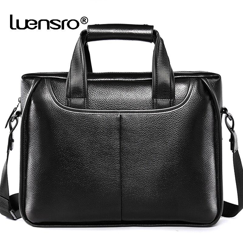 LUENSRO 2020 New Fashion Men's Briefcase Genuine Leather Male Business Bag Handbag Black Office Bags For Men Shoulder Laptop Bag