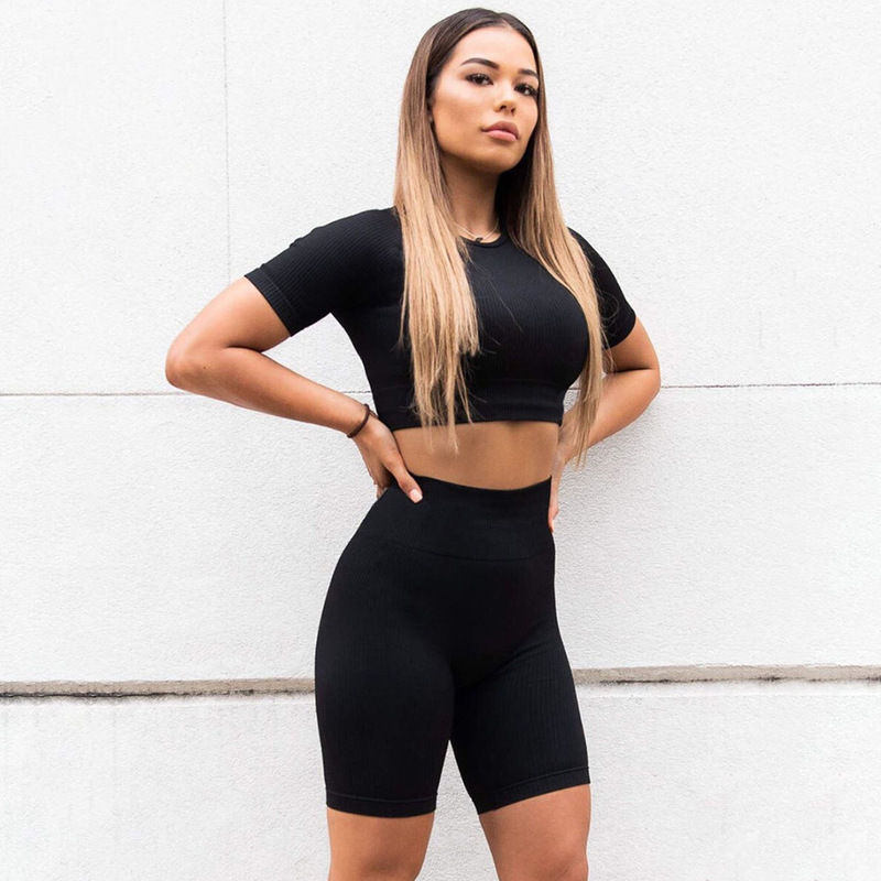 Yying 2 Piece Workout Clothes Women Gym Set Seamless Shorts Fitness Yoga Set Active Wear Gym Tracksuit