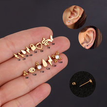1pc kolczyki ze stali nierdzewnej małe chrząstki Helix Tragus Conch Screw kolczyk zapinany z tyłu Piercing biżuteria akcesoria