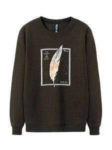 Image 3 - Pioneer Camp 100% Baumwolle Dicken Pullover Männer Winter Feder Print Schwarz Grau Outwear Mens Hohe Qualität Kleidung AWY906348