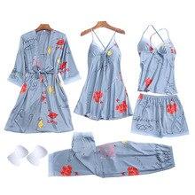 Smmoloa 5 Piece Silk Robe Women Silk Pajamas Set satin